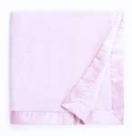Pink Satin Trimmed Plush Blanket